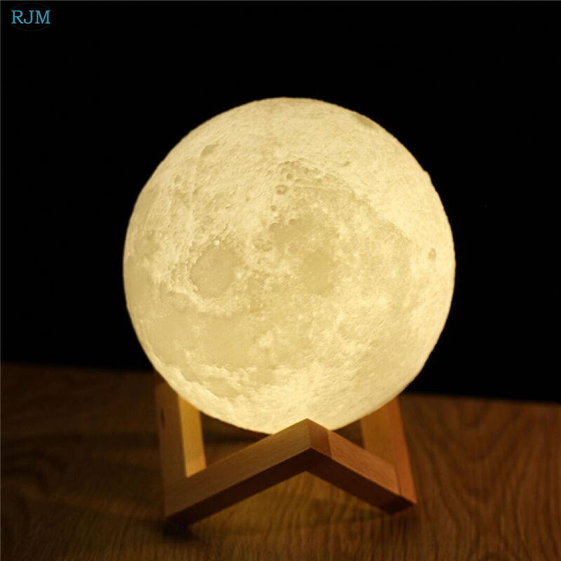Rechargeable 3D Print Moon Light Creative Gifts Bedroom Bedside Night Light 2 Color Change Touch Switch Romantic Moon Table Lamp