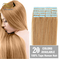 "Tape In Human Hair Extensions 18"" 20"" 22"" 24"" 20pcs/set Tape Hair Extension PU Hair Brazilian Remy Human Hair Skin Weft"