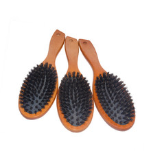 Natural Boar Bristle Hairbrush Massage Comb Anti-static Hair Scalp Paddle Brush Beech Wooden Handle Hair Brush Styling Tool
