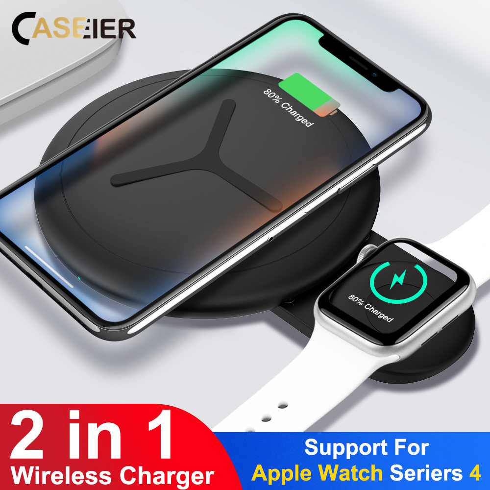CASEIER 10W 2 in 1 QI Wireless Charger For iPhone X XS Max XR 8 Fast Charger For Apple Watch 4 3 2 Dual Cargador inalambrico(China)