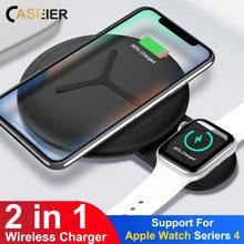 CASEIER 10 W 2 in 1 QI Draadloze Oplader Voor iPhone X XS Max XR 8 Snelle Oplader Voor Apple horloge 4 3 2 Dual Cargador inalambrico