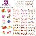 BLE1995-2005 Variedad de rosas románticas y mariposa etiqueta engomada del clavo de transferencia de agua de colores diseño De etiqueta engomada del clavo