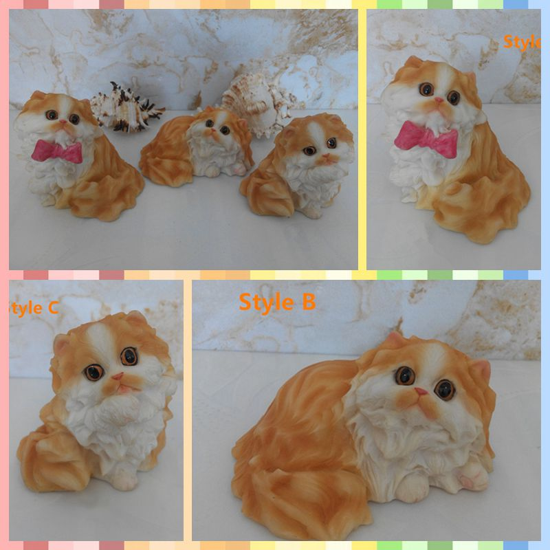 Free shipping One Piece Persian Cat Vivid Lifelike Figure Resin toy cute Kitten cake home office car decor party supply gift
