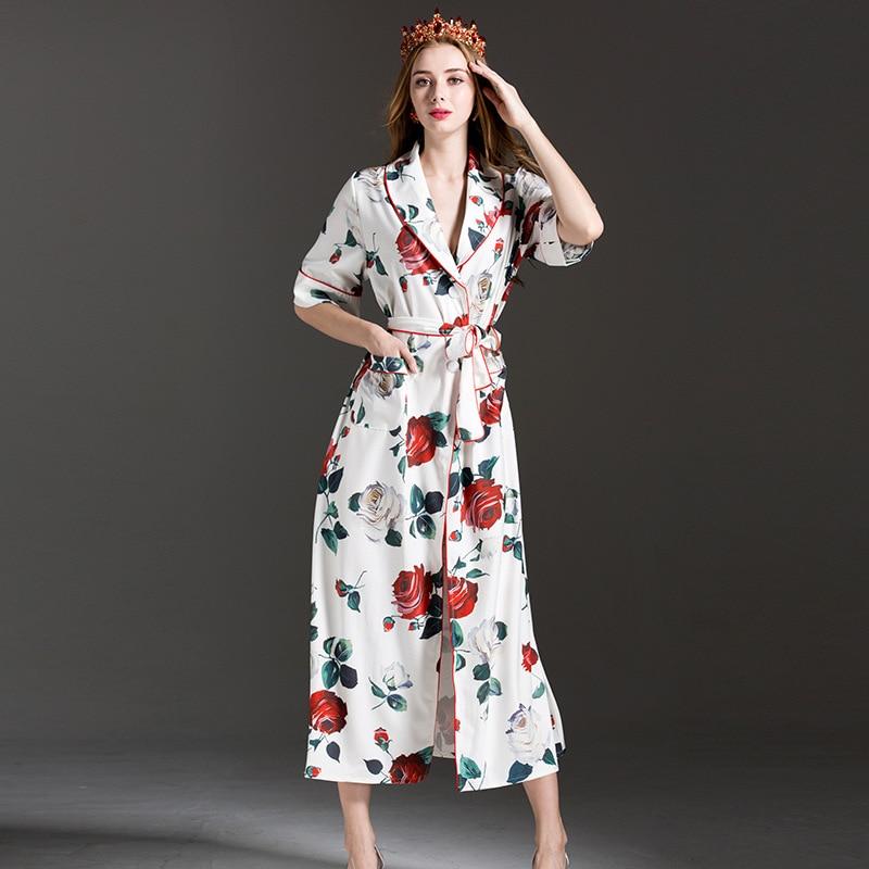 Split Pour Femmes Imprimer Ceinture 2017 Pyjamas D'été Designer Style Lâche Cheville Blanc Moitié De Longue Longueur Manches Sexy Robe Rose Robes 6WWHRn0z