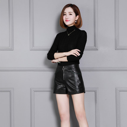 2019 Women High Waist New Sheep Leather Shorts K30