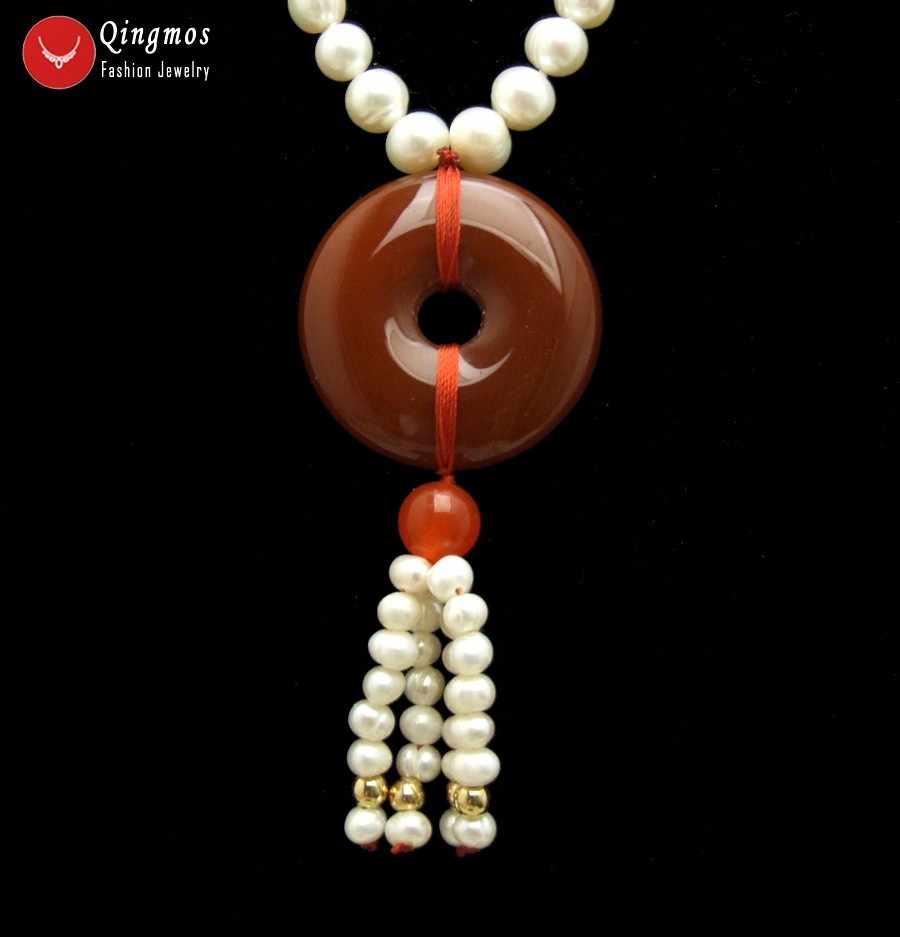 Qingmos 6-7mm Colar de Pérolas Naturais para As Mulheres com Branco Rodada de água doce da Pérola & 30mm Donuts Forma Vermelho ágatas Jóias Pingente de Colar