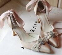 Custom Made Шампанское Средний Каблук Острым Носом Женщины Горный Хрусталь Ремень Невесты Обувь Элегантные Свадебные Свадебная Обувь Размер 34 43