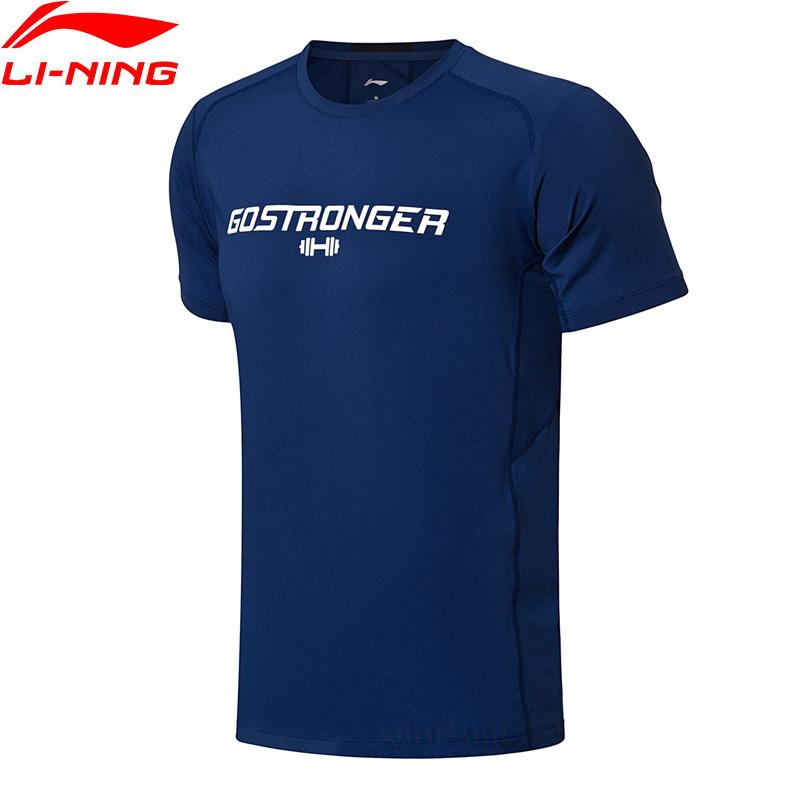 (Break Code)Li-Ning Men Training T-Shirt Slim Fit 87% Polyester 13% Spandex LiNing Comfort Sport T-shirt Tops ATSN025 MTS2708