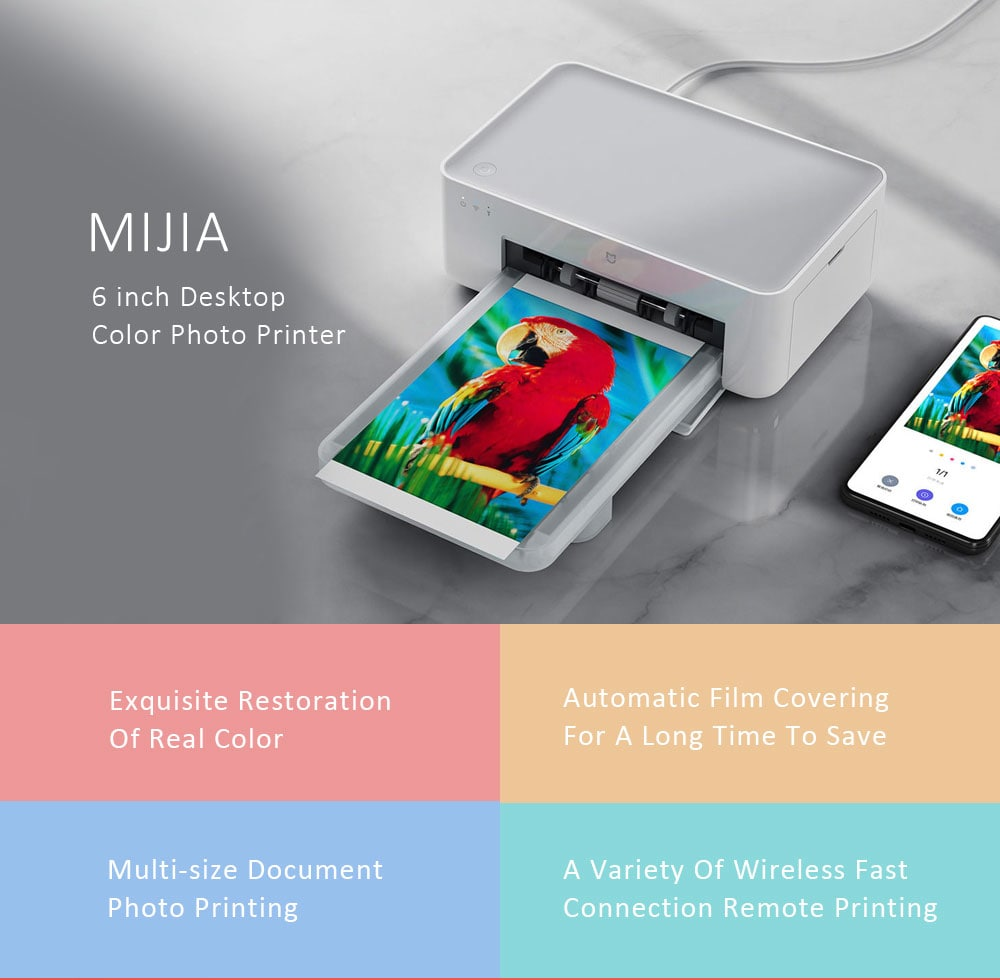 Mijia 6 inch Desktop Color Photo Printer ( Resolution 300 × 300dpi )- White