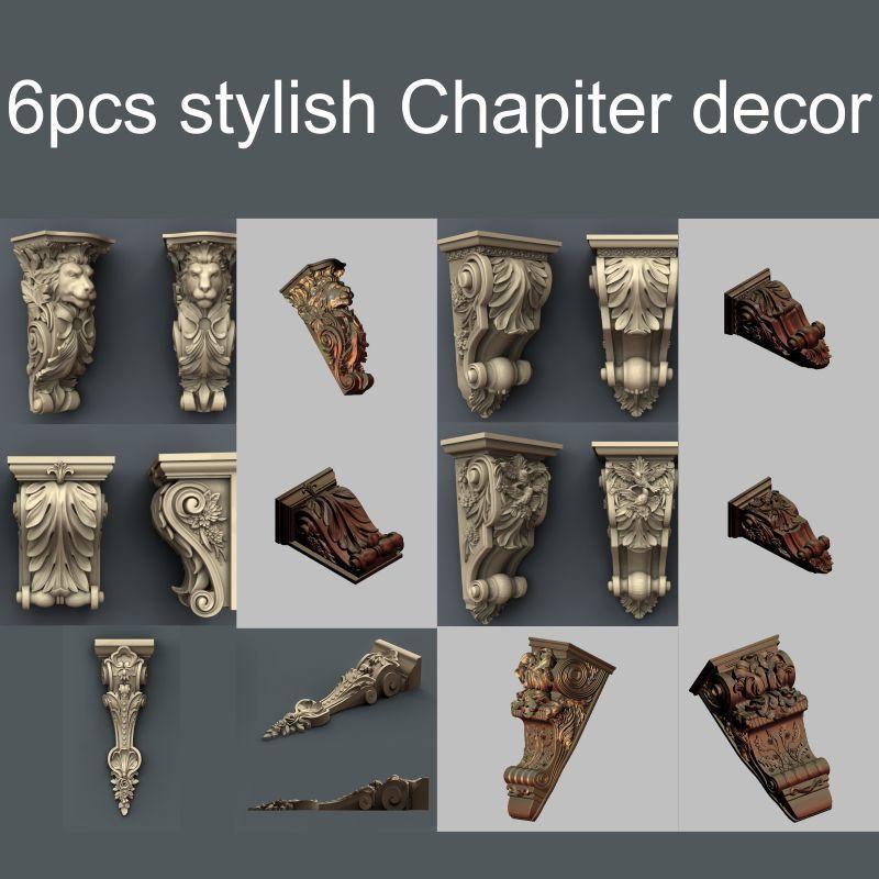 6pcs/set Stylish Chapiter Decor 3d Model STL Relief For Cnc STL Format Decor 3d Model For Cnc Stl Relief Artcam Vectric Aspire