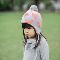0 8 Year Kids Cap New 2016 Autumn Winter Earmuffs Fox Jacquard Boy Knitted Children S