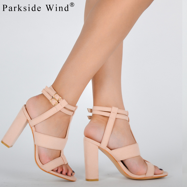 Parkside Wind Suede Leather Girl's Sandals Navy Heel Party High Heels Buckle Shoes Woman Khaki Sandals Ankle Strap Heels -5