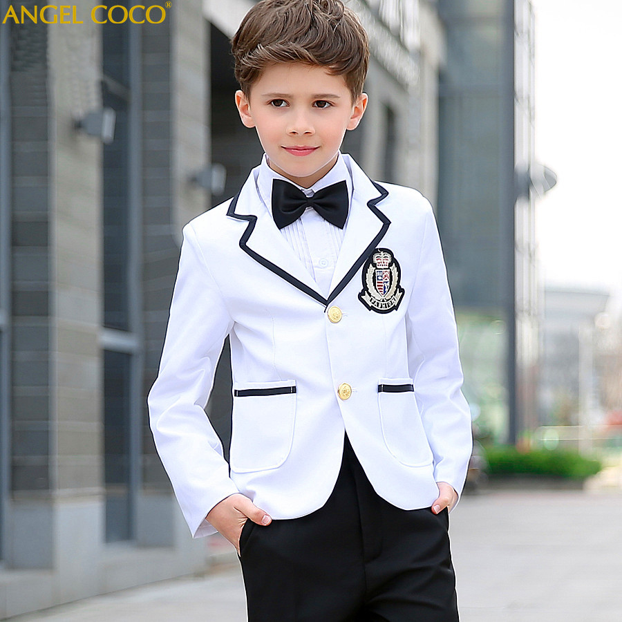 White Jacket Black Pants Nimble Suit Single Breasted Boys Suits For Weddings Costume Enfant Garcon Mariage Boys Blazer Jogging
