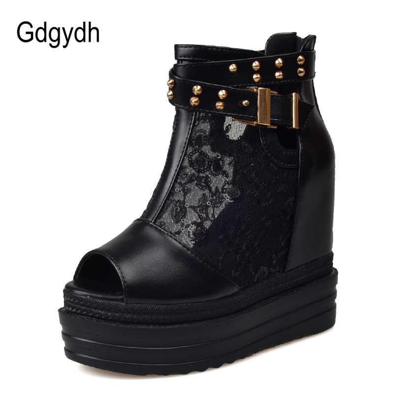 Gdgydh Seksi Yaz Ayakkabı Kadın Moda Perçin Lades Yaz Çizmeler Takozlar Kristaller Kadın Ayakkabı 2019 Yeni Bahar Drop Shipping