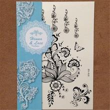 1pcs Wedding Black Henna Tatoo Jewelry Pendant Design Nontoxic Temporary Flower Decal Tattoo For Women Body Art Sticker