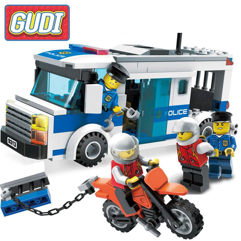 GUDI City Police Series Prisoner Car Building Blocks Sets Model 204Pcs DIY Educational Toys Birthday Gift For Children sermoido 02012 774pcs city series deep sea exploration vessel children educational building blocks bricks toys model gift 60095