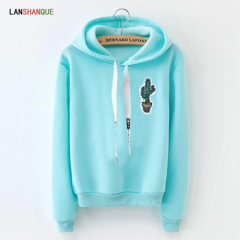 LANSHANQUE S-XXXL Autumn Winter Fleece Harajuku Pullover Solid Thick Loose Women Hoodies Sweatshirts Female Casual Coat(China)