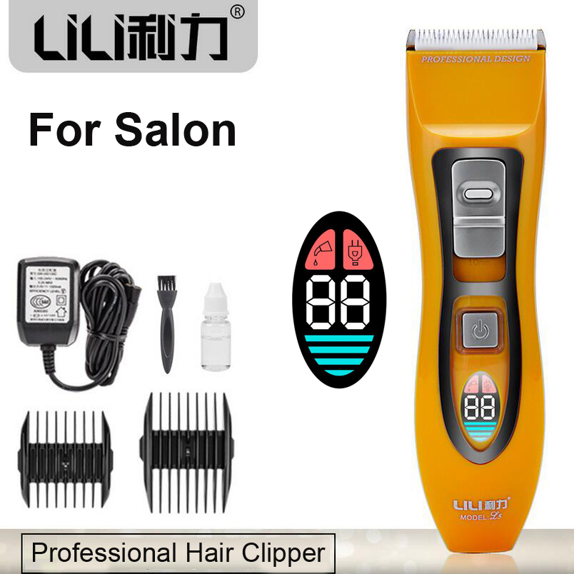 2016 Professional Electric Hair Clipper LCD Rechargeable Hair Trimmer For Barber Salon Ceramic Cutting Machine Fast charging 1hr 2014 new professional electric hair trimmer clipper baby hair mute barber set 1pcs lot buy one get twelve recharge free shipping