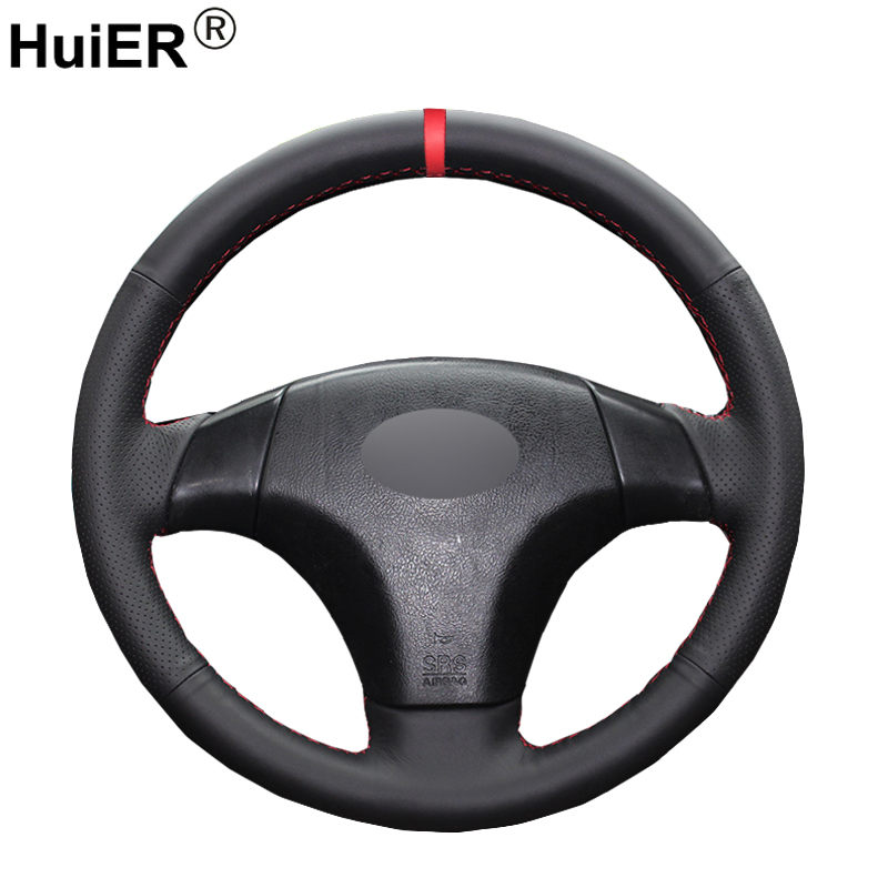 HuiER Hand Sew Car Steering Wheel Cover Red Marker For Old Mazda 3 Mazda 5 Mazda 6 2003-2009 Pentium B70 Auto Car Accessories