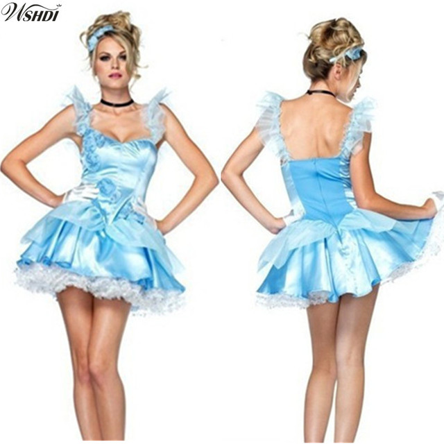 c22e65b9b3 Fairy Tale Role Playing Game Blue Adult Princess Cinderella Costume Carnival  Party Halloween Sexy Costumes Women Cosplay Dresses