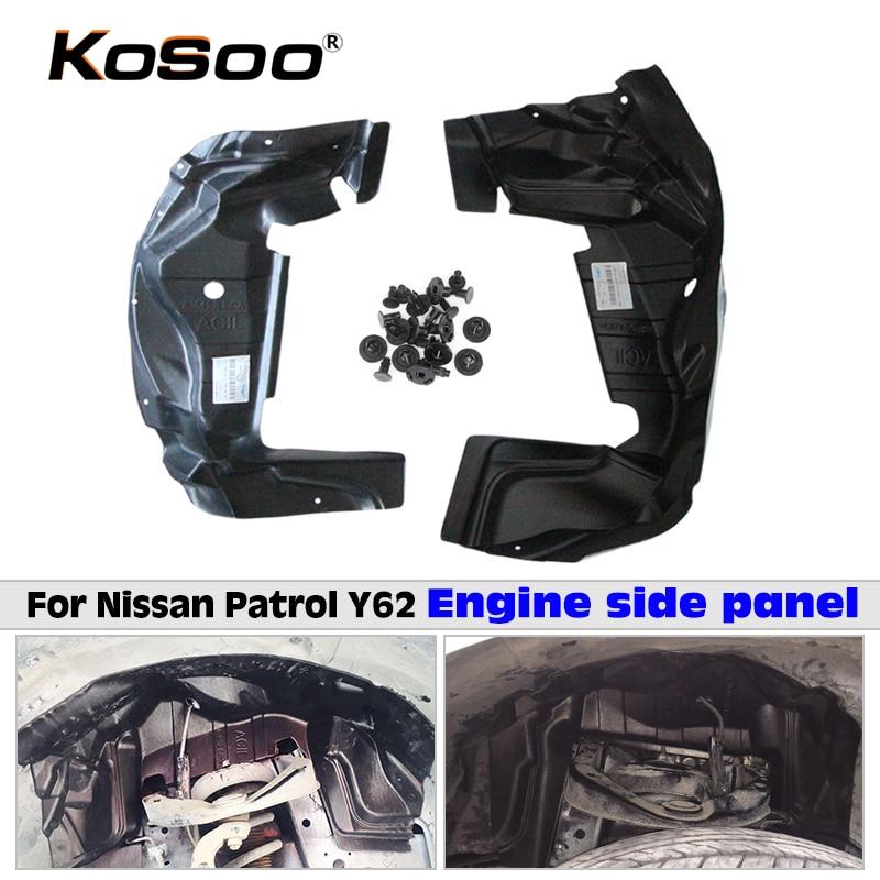 KOSOO Automobile Fender Bouclier Moteur Moteur Pneu Plaque De Sécurité De Protection Cover Decal Pour Nissan Patrol Y62 Car Styling Accessoire