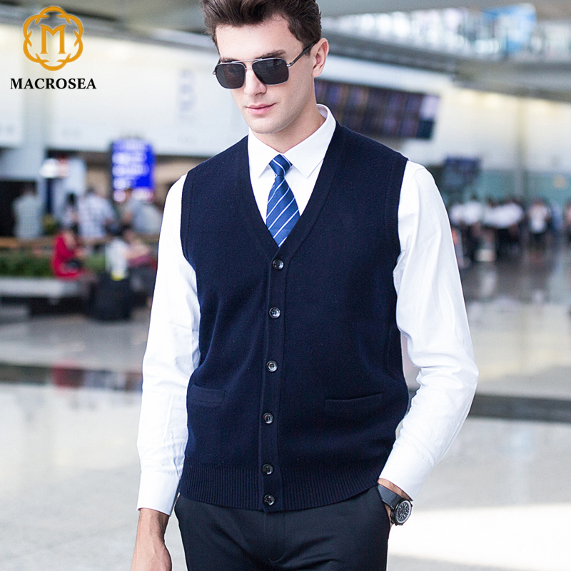 Autumn&Winter Men's Pure Color 100% Wool Cardigan Sweater Classic Design Style Male's Sleeveless Sweater Sweatercoat