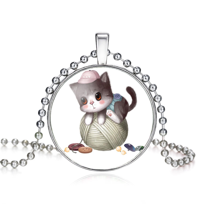 High quality girls silver plated cute cat glass pendant necklace for high quality girls silver plated cute cat glass pendant necklace for women hot sale lovely kids cat necklace jewelry in pendant necklaces from jewelry aloadofball Gallery
