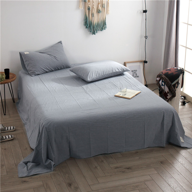 1pc Washed Cotton Flat Sheet Modern Design Color Bed Sheet Soft And Comfortable Sleeping Sheet 200x230cm Queen And King Size
