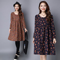 Pregnant Woman Dress Autumn Long Sleeve Floral Cotton Linen Maternity Clothes Loose Casual Long Dresses CE308