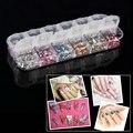 Novas 3000 pcs Misture 12 Cores Rodada Círculo Beads Nail Art Nail Art Pedrinhas Glitters DIY Manicure Nail Art Gemas Decoração Beleza