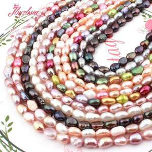 """4-6x5-8mm Irregular Freeform Freshwater Pearl Natural Stone Beads For Gift Necklace Bracelet Jewelry Making 14.5"""" Free Shipping"""