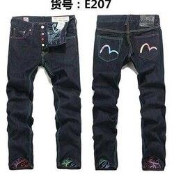 Nieuwe Aankomst Authentieke Evisu Trend Mode Mannen Broek Jeans Straight Print Leisure Printing Mid Taille Top Kwaliteit mannen Broek