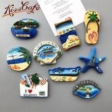 Creative Famous Landmark Maldives Beach 3D Fridge World Travel Souvenirs Refrigerator Magnetic Stickers Home Decortion Gifts