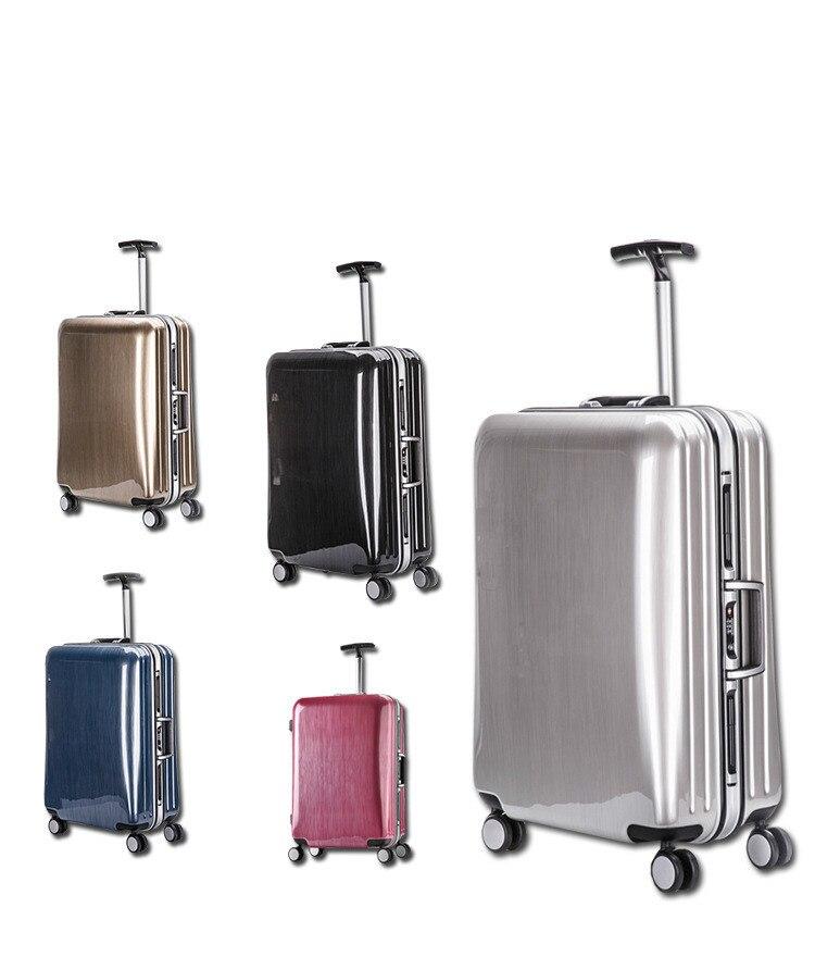 цена на Aluminum Frame Glossy ABS Hardside shell Business Travel luggage suitcase maleta valise koffer