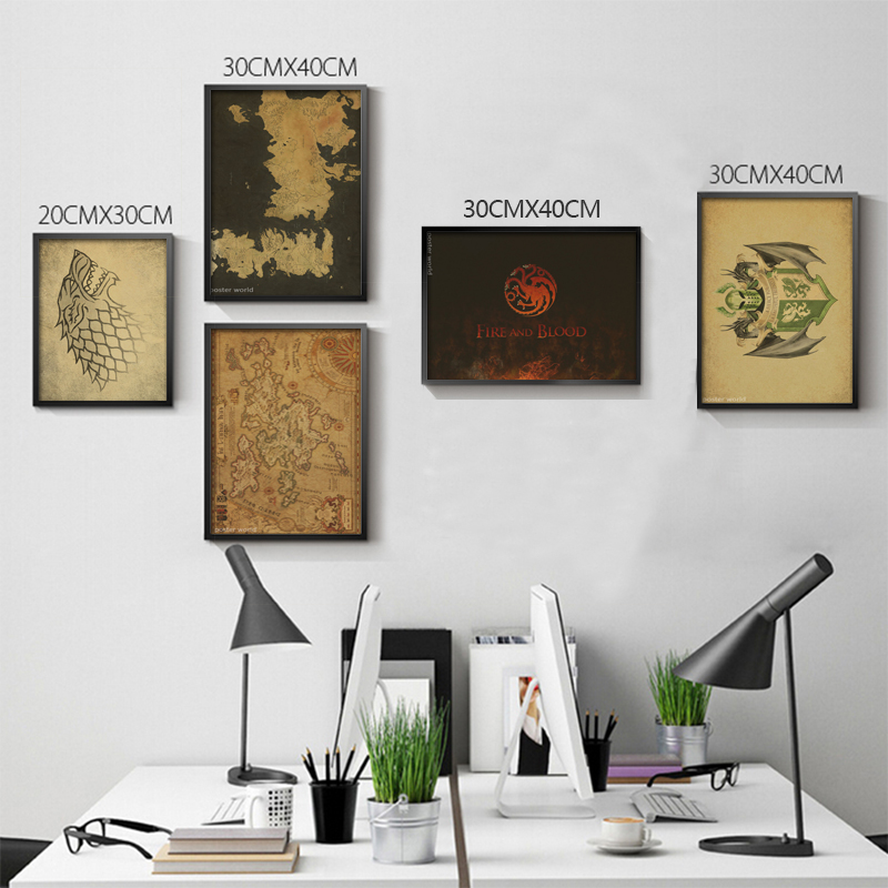 Game Of Thrones Banners TV Shows retro Poster Bedroom Decoration vintage  prints kraft paper China. Compare Prices on Vintage Bedroom Decor  Online Shopping Buy Low