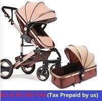 ЕС нет налога Роскошные Детские коляски 3 в 1 High пейзаж коляска Портативный складной коляски высокое качество четыре колеса Детские коляски
