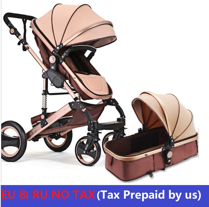 EU NO TAX Luxury Baby Stroller 3 in 1 High-Landscape Pram Portable Folding baby Carriage High Quality Four Wheel Baby Stroller