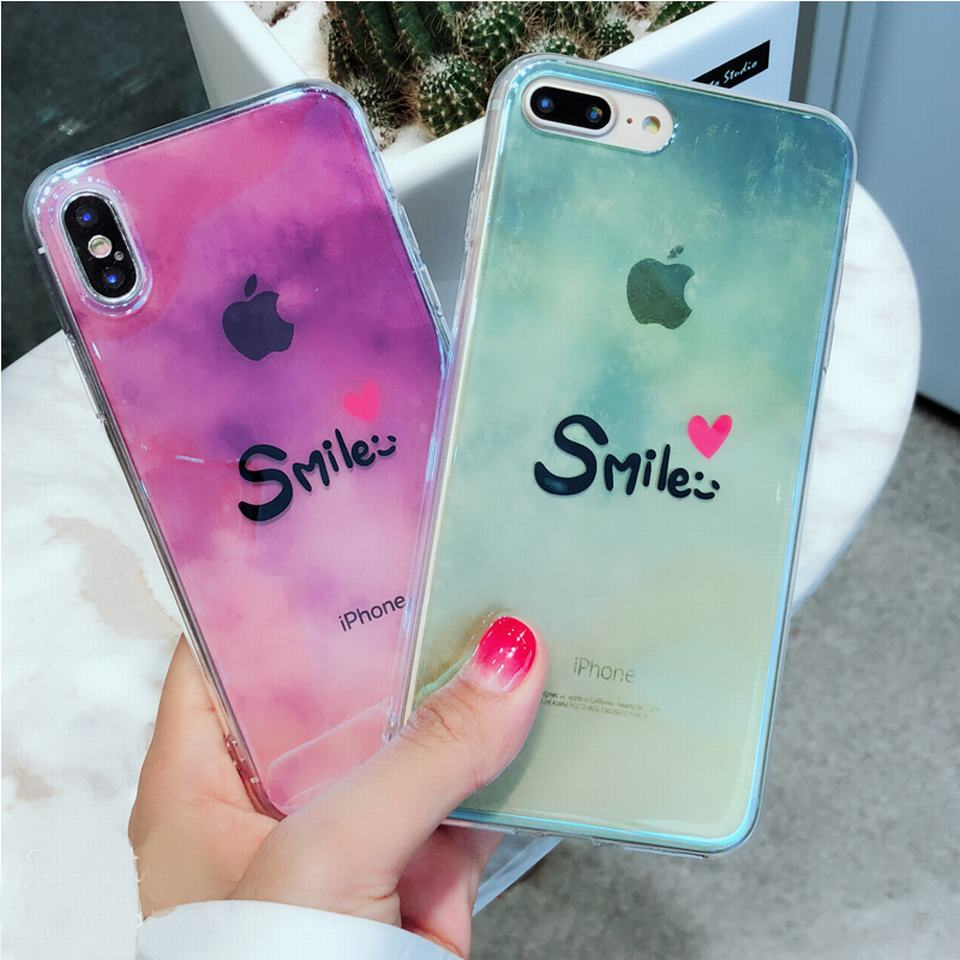 For iphone 7 case blue ray laser silicone clear soft tpu smile phone case for apple iphone x 8 7 6 6s plus case cover shockproof