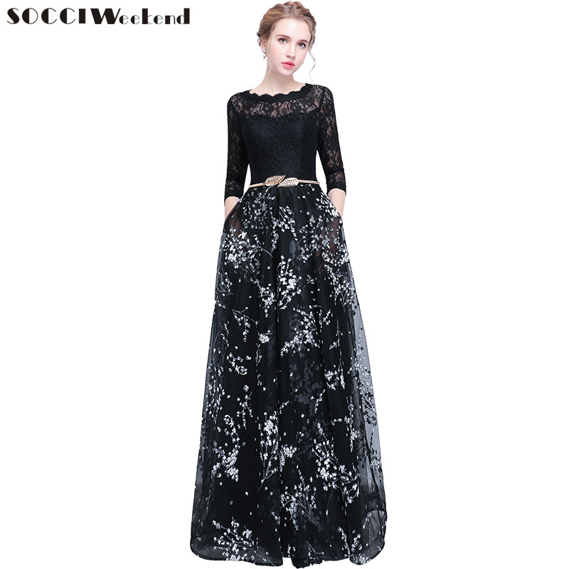 SOCCI Weekend Robe De Soiree New Banquet Evening Dress The Bride Simple Black Lace Stitching 3/4 Sleeved Long Prom Party Gown