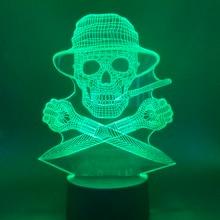 Hunter S Thompson Gonzo Journalism 3d Night Light Led Touch Sensor Skull Man Nightlight for Office Decoration Atmosphere Lamp