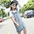 Girls Denim Dress Children Clothing Wear White Summer Dresses For Kids Suspender Dress For Girls Child Costumes