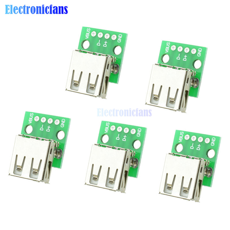 5pcs Type A Female USB To DIP 2.54MM PCB Board Adapter Converter Module For Arduino5pcs Type A Female USB To DIP 2.54MM PCB Board Adapter Converter Module For Arduino