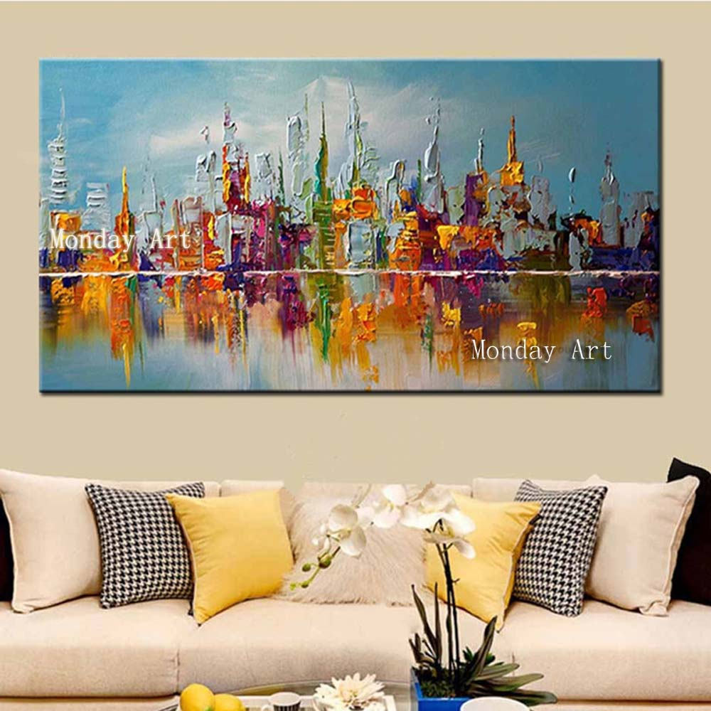 Handpainted-Abstract-Knife-Oil-Paintings-on-Canvas-Home-Decor-Wall-Art-Pictures-Large-Colorful-Graffiti-City