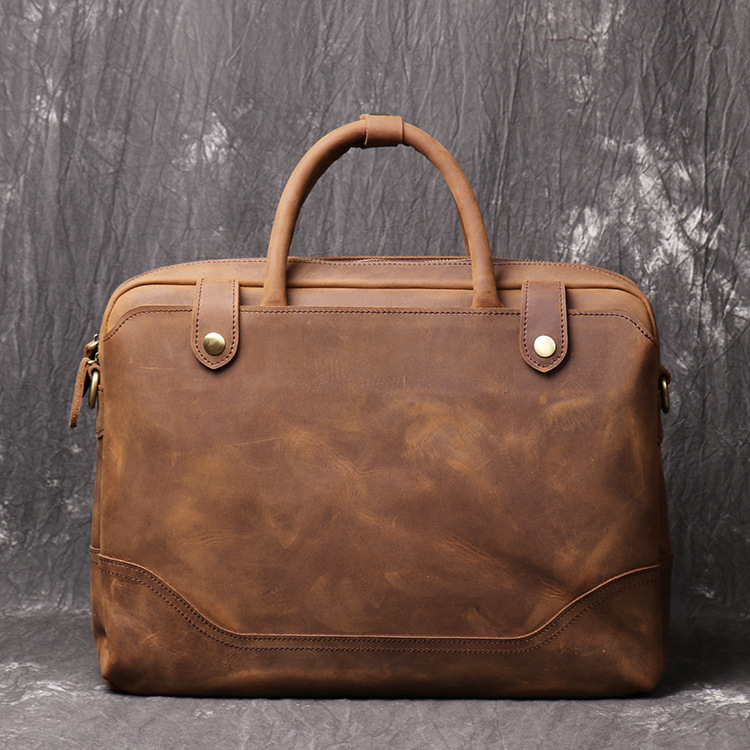 Nesitu Highend Vintage Brown Thick Genuine Crazy Horse Leather 14'' Laptop Office Men Briefcase Messenger Bag Portfolio M1089