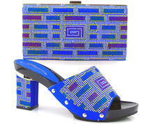 New Royal Blue African Shoes and Bags Matching Set Italian design  Rhinestones African Shoes and Bags Set for Wedding CT16-34