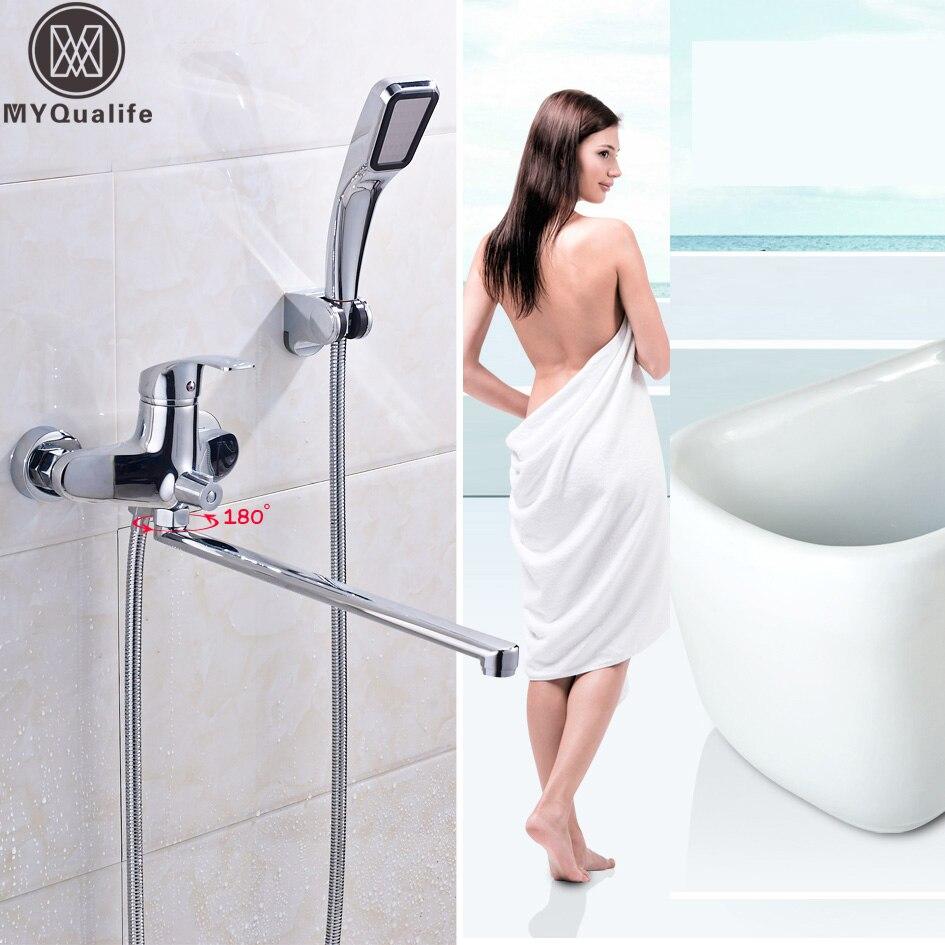 Chrome 395mm longueur sortie baignoire robinet rotatif en laiton bain douche robinet mural avec douchette et supportChrome 395mm longueur sortie baignoire robinet rotatif en laiton bain douche robinet mural avec douchette et support