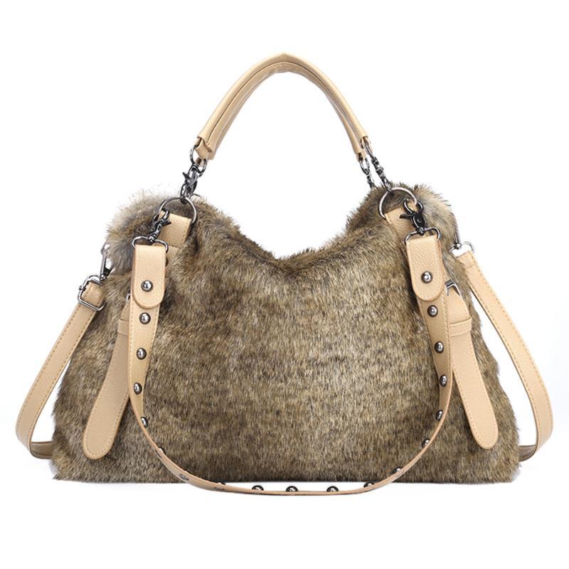 Female Top-handle Bags Rivet Larger Women Bags Women Faux Fur Shoulder Bags Winter Soft Big Capacity Tote Handbag Crossbody Bag
