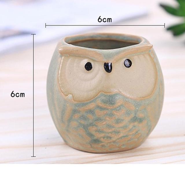 AsyPets 6pcs Ceramic Owl Plant Pot Flowing Glaze Base Creative Flower Container as Decorations-35