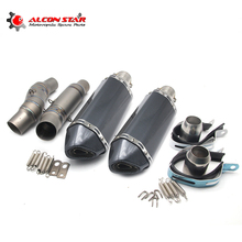 Alconstar 51mm Motorcycle Exhaust Middle Pipe for Kawasaki Z1000 2010 2014 with 2 pcs Akrapovic Exhaust