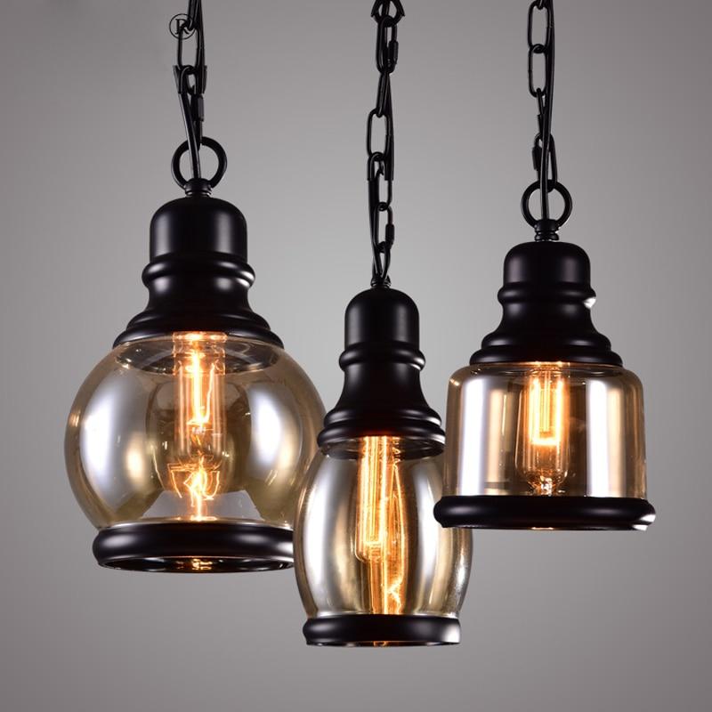 Vintage Loft Industrial American Country Glass Hemp Rope Pendant Lamp Kitchen Dinning Living Room Modern Home Lighting Fixture